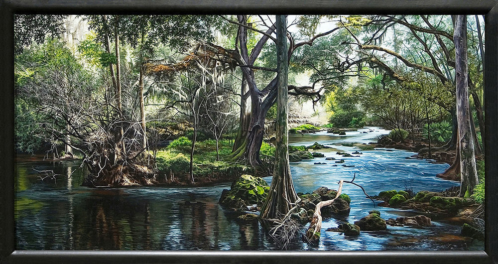 Kevin grass hillsborough river framed acrylic on panel painting mtr5ml