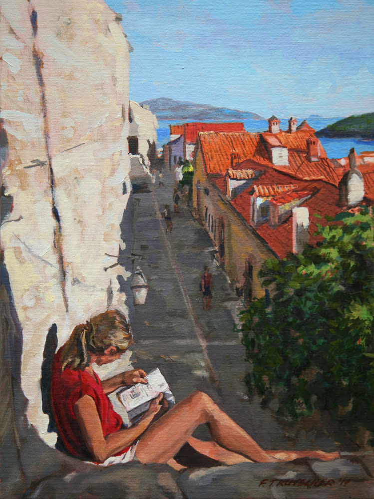 Kutscher woman in red shirt reading north wall old dubrovnik msguy2