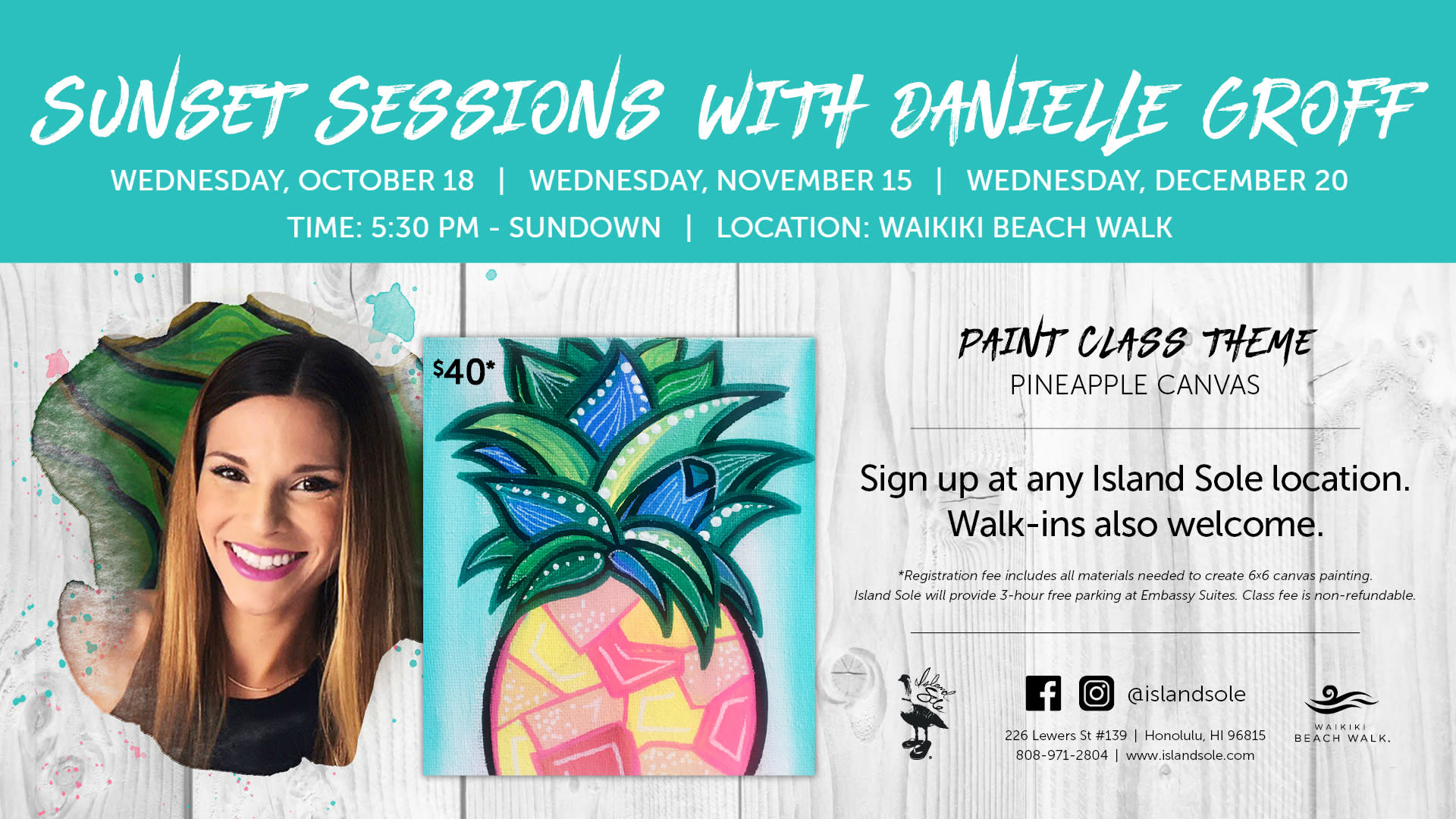 <div class='title'>           Sunset Sessions with Danielle Groff - Waikiki Beach Walk         </div>                 <div class='description'>           Sunset paint classes with local artist Danielle Groff. Hosted by Island Sole on the Waikiki Beach Walk lawn, every 3rd Wednesday of the month.         </div>