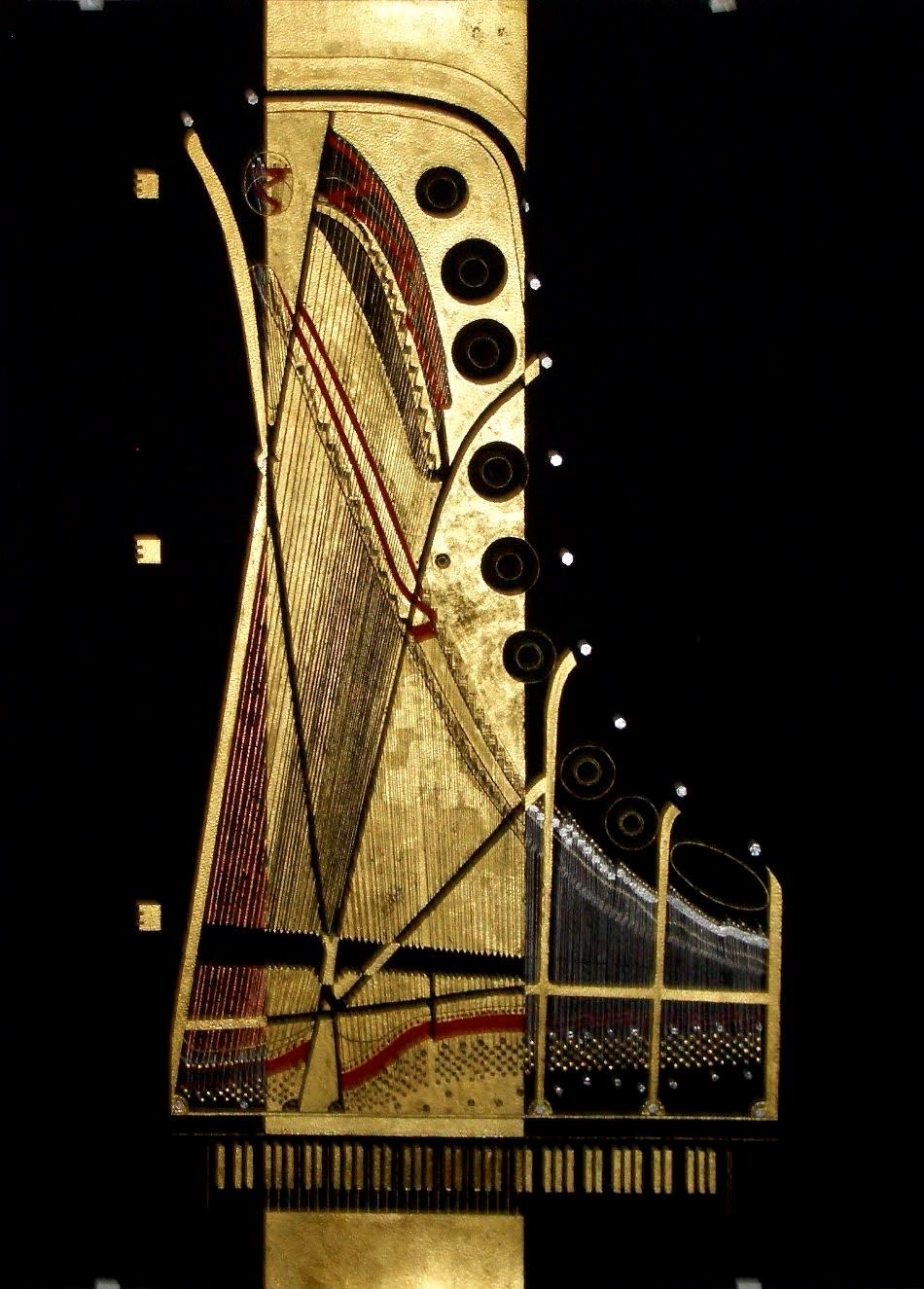 Golden piano painting ellen frank wet paint nyc ns5oem