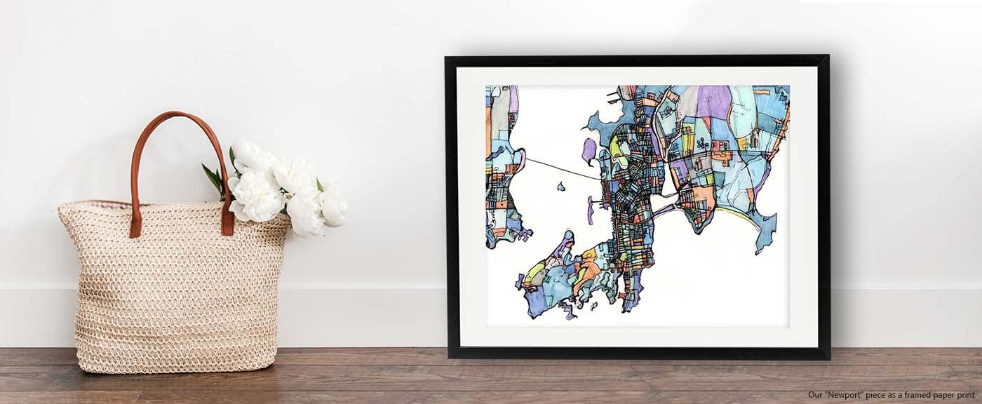<div class='title'>           Abstract Map Print – Modern Map Art of NEWPORT RI. Gift Ideas | Coastal Art | Beach Print | Modern Wall Art | Newport Print         </div>                 <div class='description'>           Rhode Island artwork for sale by Carland Cartography. Shop modern wall art of Newport.         </div>