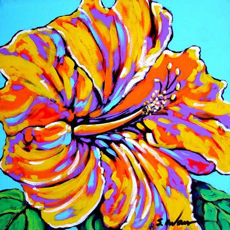 Yellow hibiscus in blue gebxk4