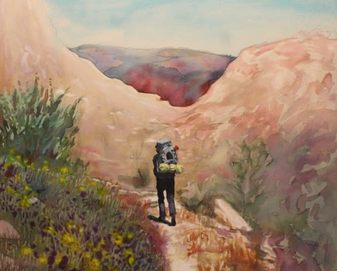 Hetch hetchy hiker yosemite national park painting michael serafino wet paint nyc qaszma