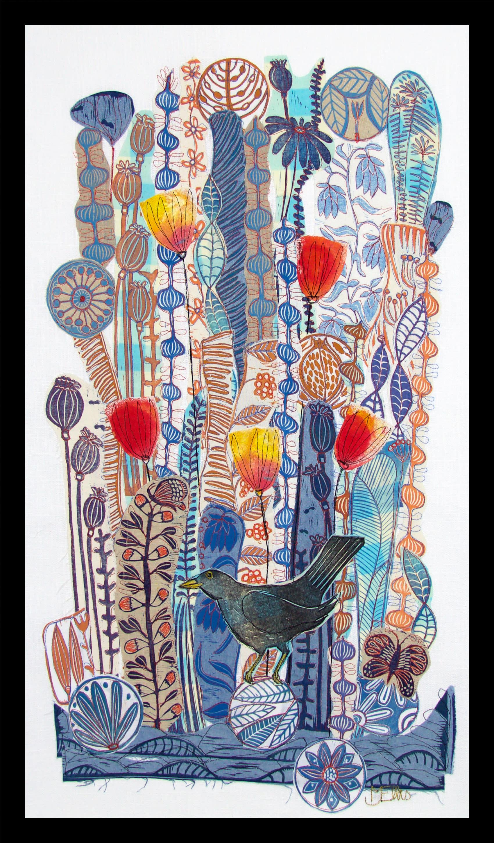 Collage lino blackbird framed cgm4xa