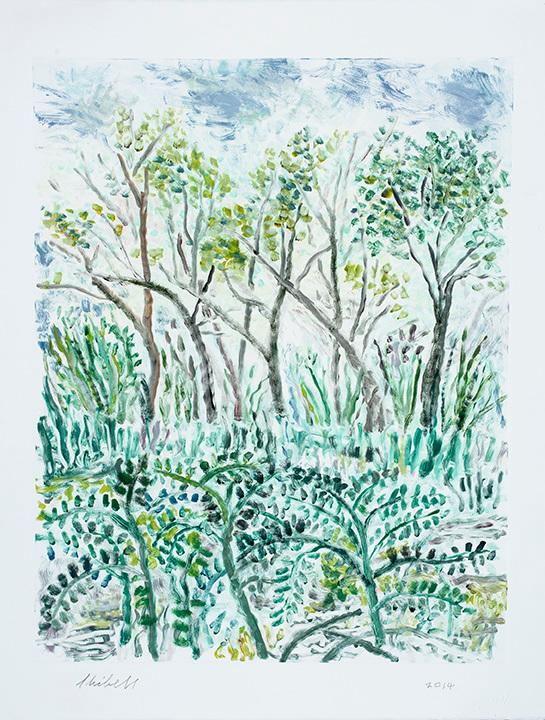 Soft landscape with trees monoprint pwtrra