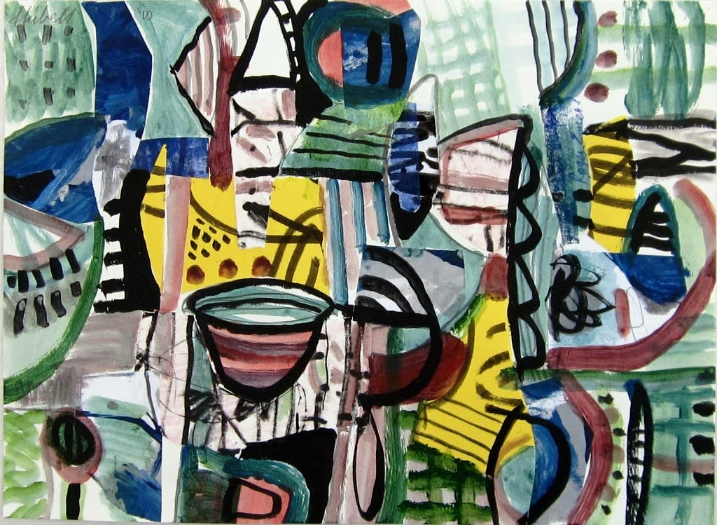 Jerry skibell structure collage painting 12 x 15 in. 2010 tjg7o9