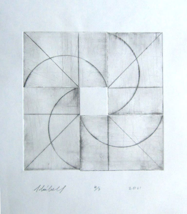 Jerry skibell rotor dry point etching 10x10 in. 2011 ykykcv