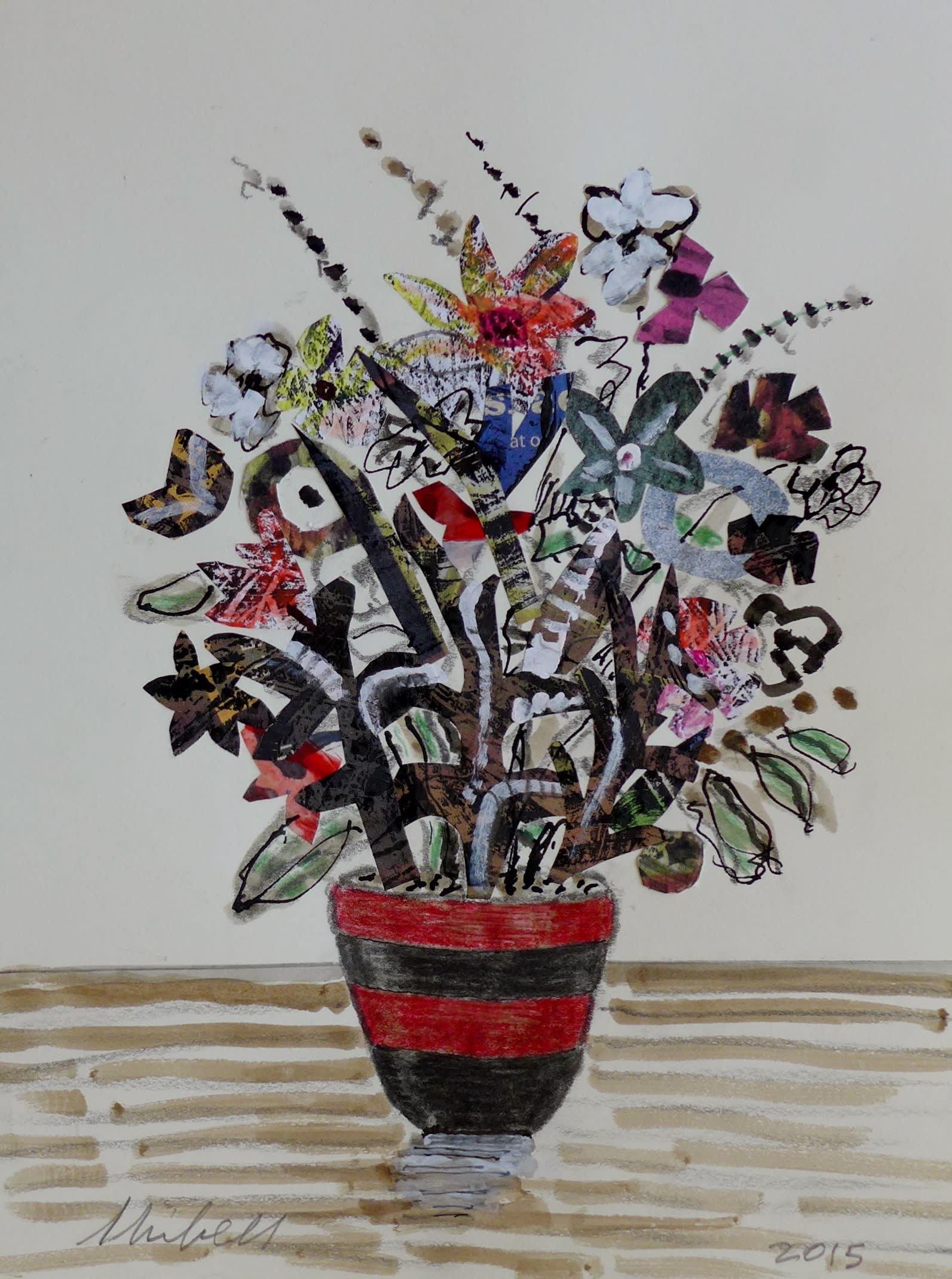 Jerry skibell flowers in red and black pot collage color2 luiizv