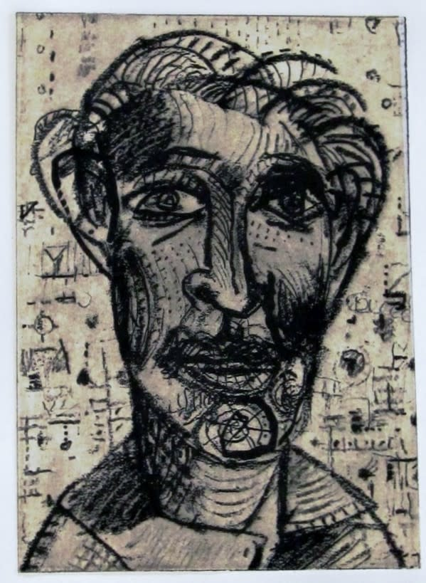 Face 553 7x5 inches solar plate intaglio etching 2009 jerry skibell am2jm3