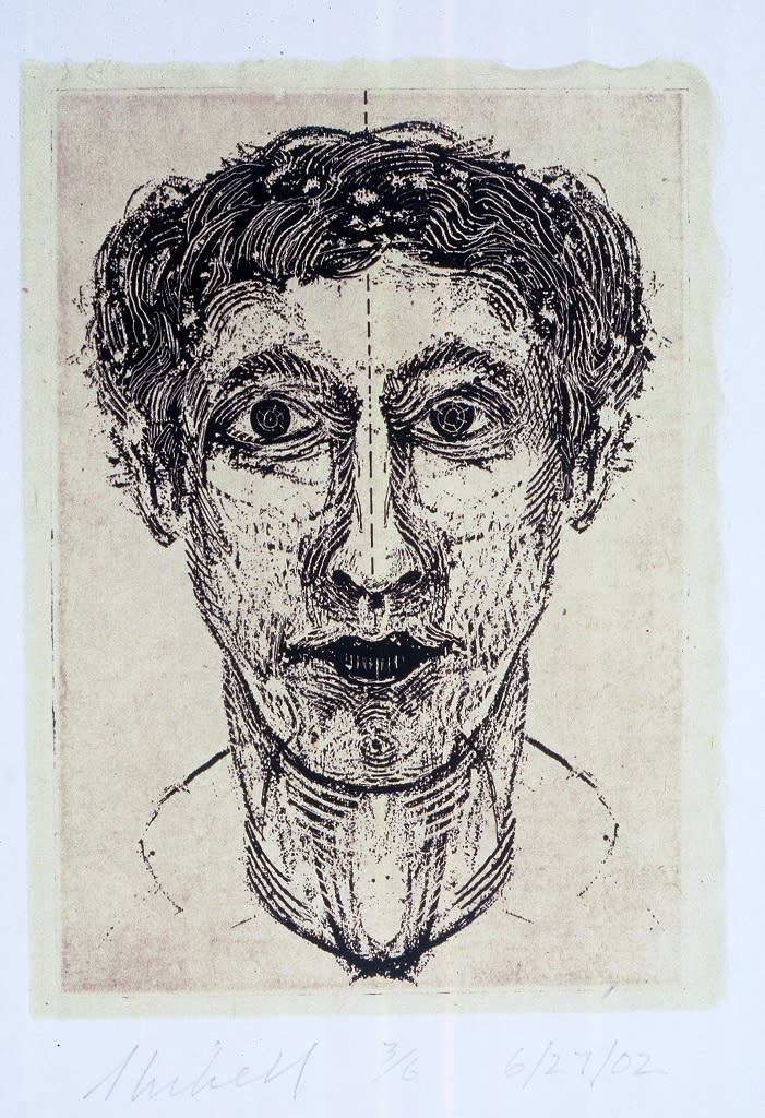 Jerry skibell head no. 113 solarplate etching 7x5 inches 2002 as7wru