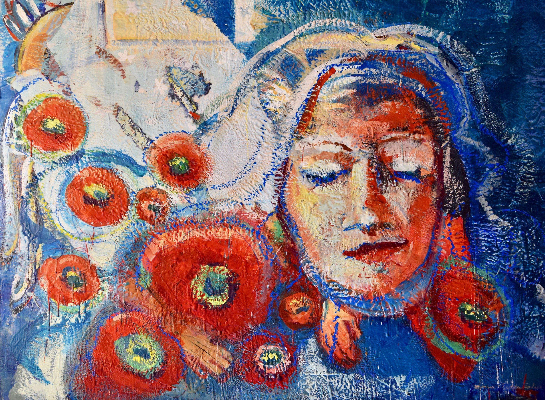 Radiant woman illumination 3mb 36 22x48 22x2 22 encaustic wax on wood ldhacj