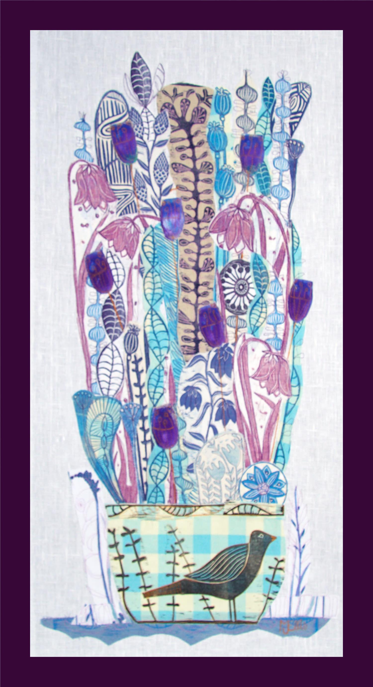 Lino collage mothwings entire framed heuadk