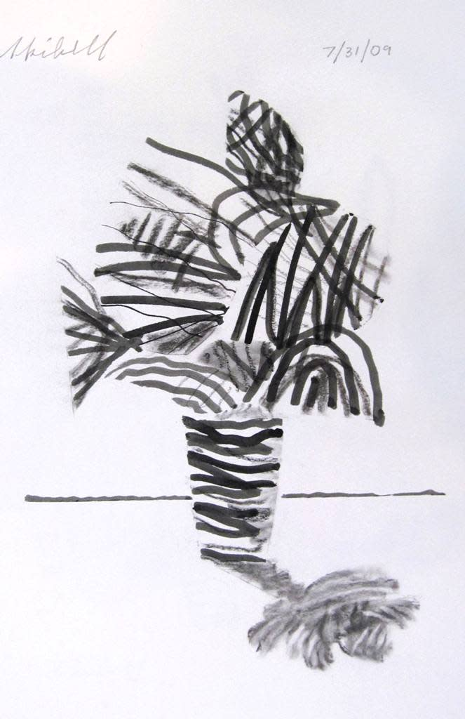 Flower vase ink and charcoal on p. 2010 siaipg