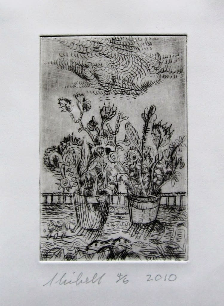 Jerry skibell fighting flower pots dry point etching 6x4 in. 2010 njd7gy