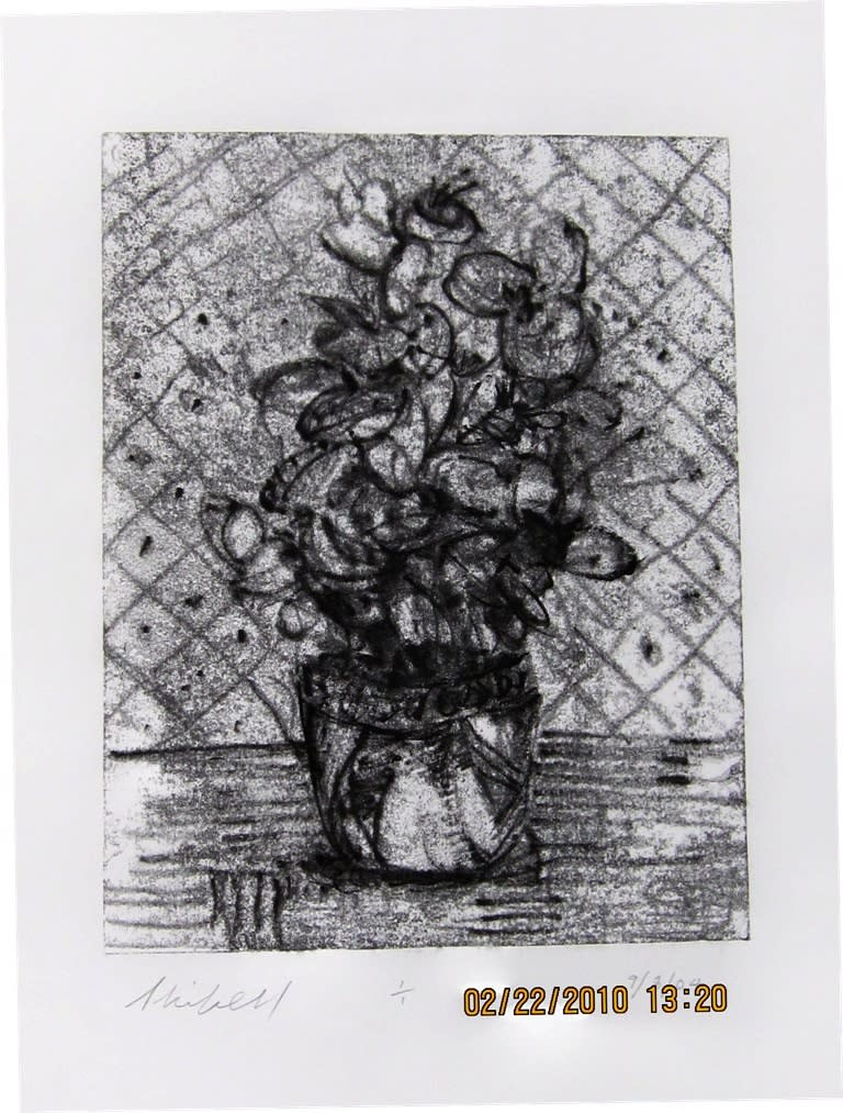 House plant by wall one of set 11x8.5 inches trace monoprint 2004 jerry skibell mwlbmz
