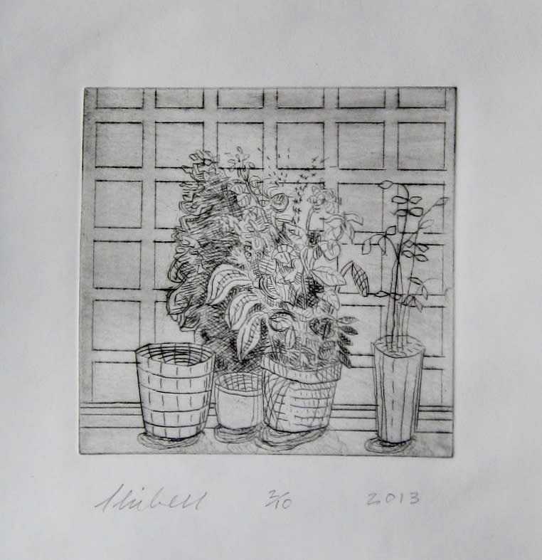 Jerry skibell plants and empty pots against square wallpaper dry point etching 6x6 in. 2013 zozbgk