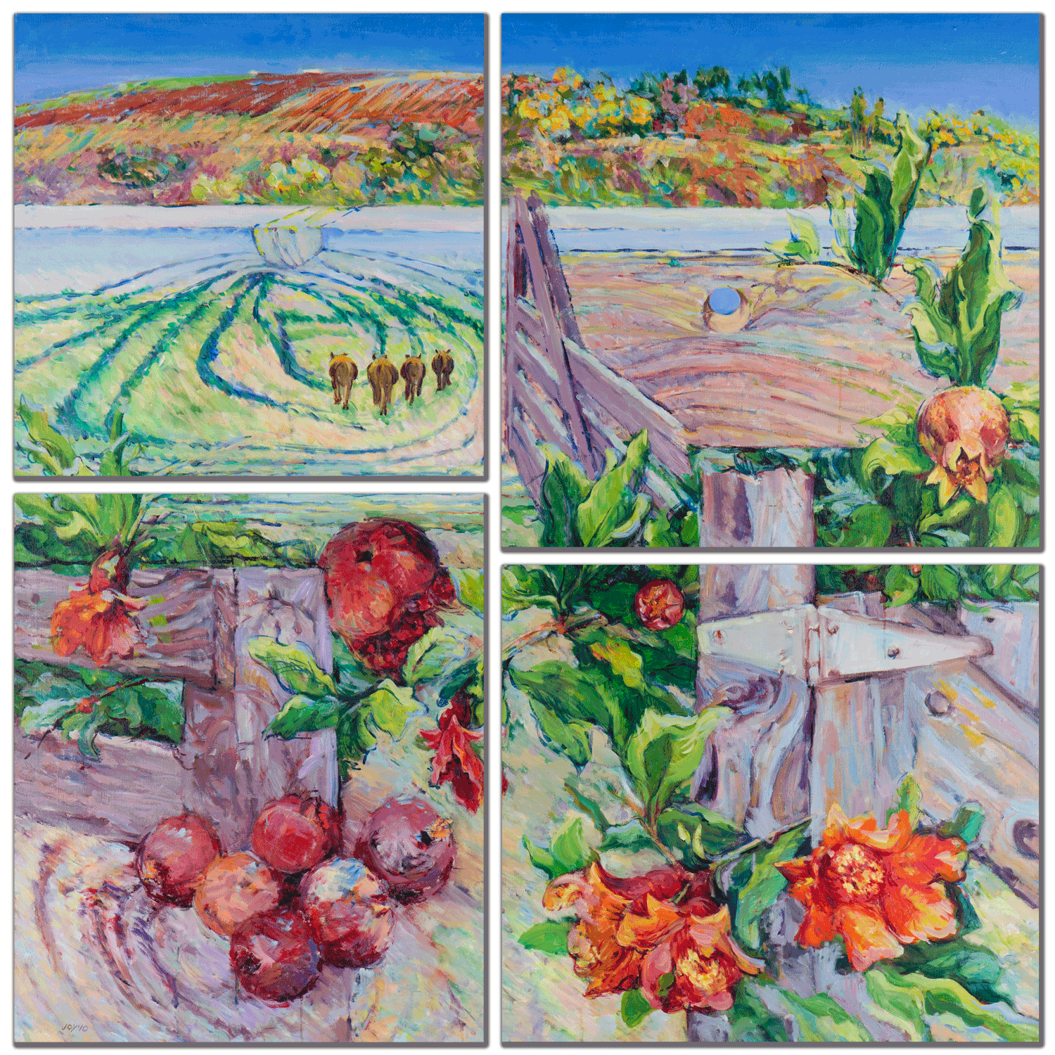 Spring farm mulit panel wall art bxghh9