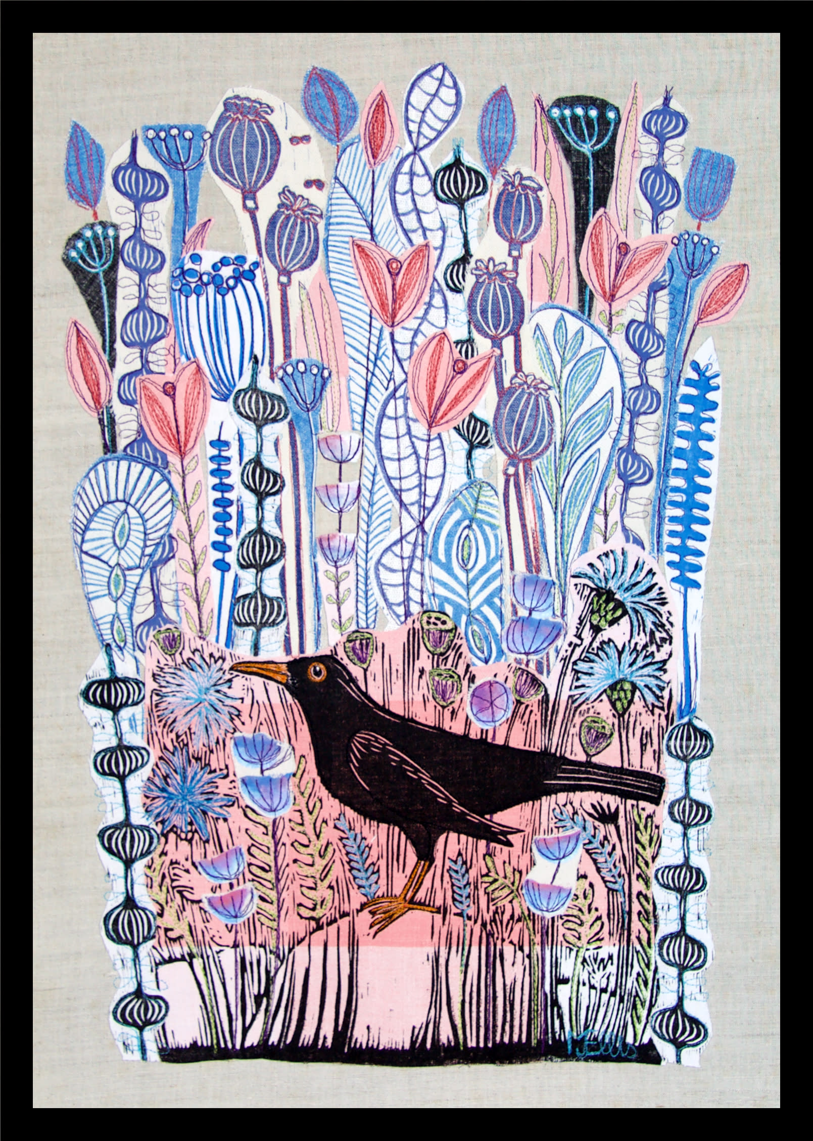 Lino collage pink blackbird framed azbyyx