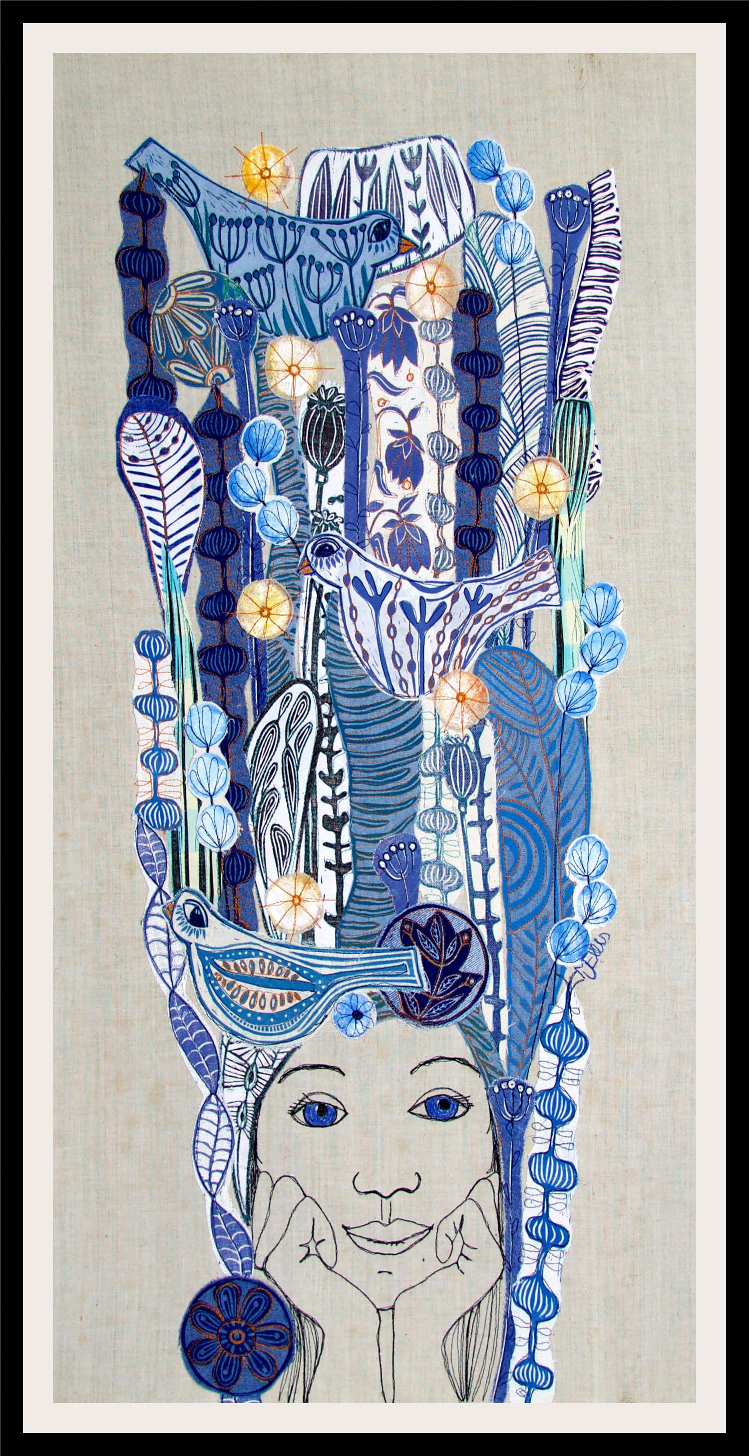 Lino coll af blue eyed girl framed tk2mcp