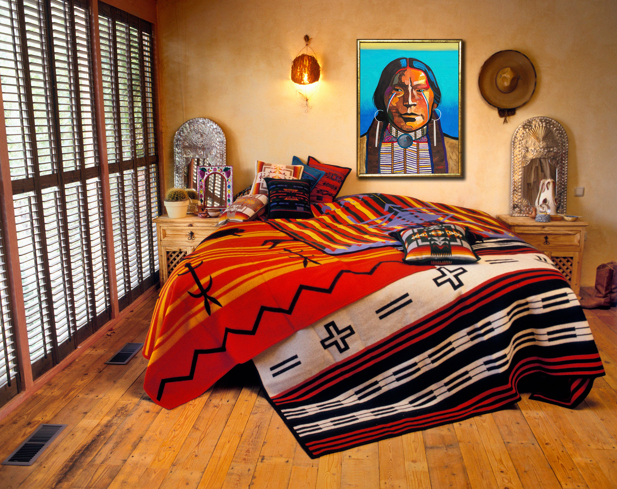 <div class='title'>           Jicarilla Apache, southwest design, santa fe interior,          </div>                 <div class='description'>           Southwest Interior design          </div>