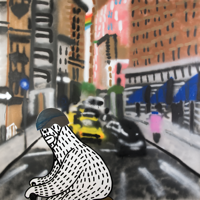 Frank ape   bike street art painting   wet paint nyc ibu2bi
