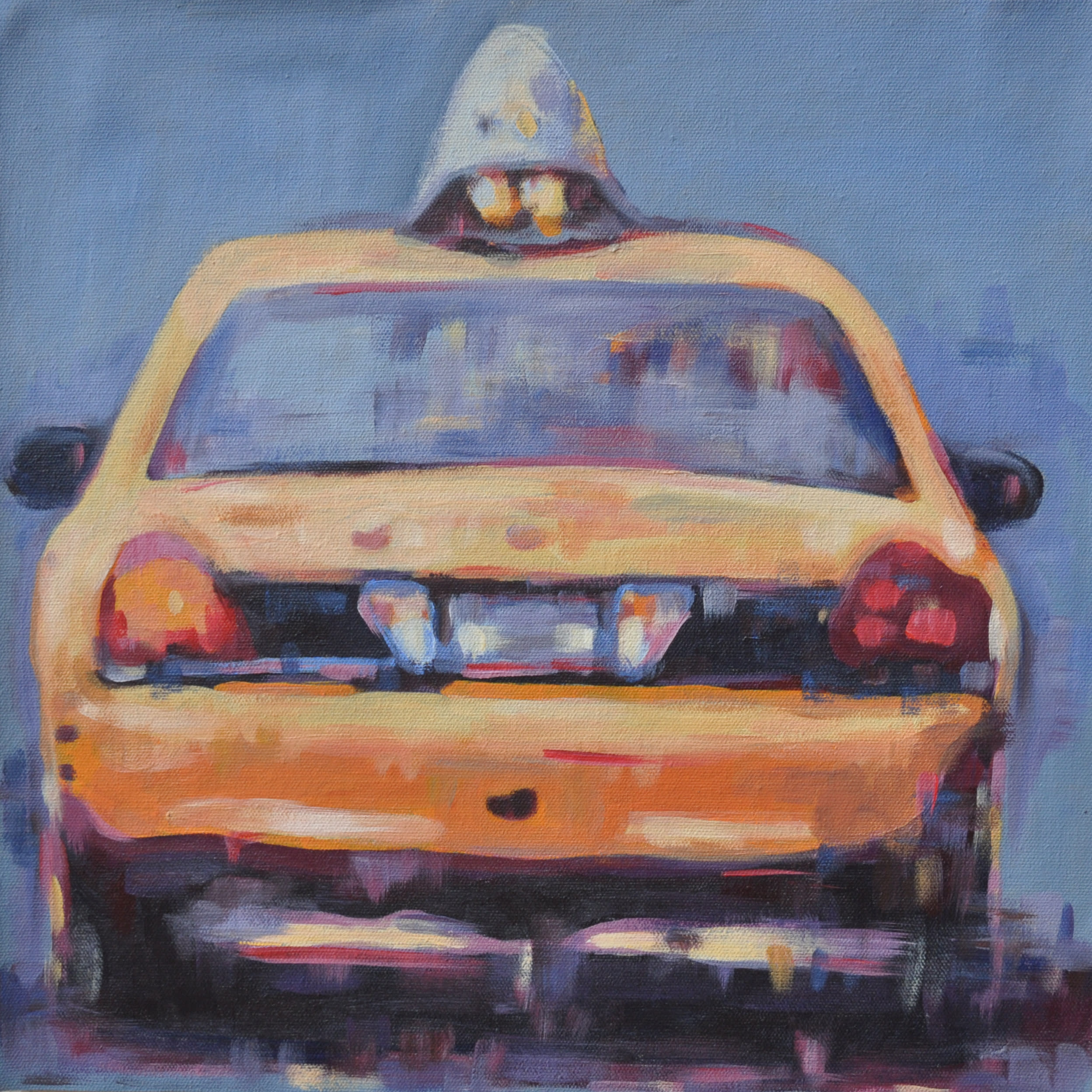 36x36 yellow taxi cab from behind by steph fonteyn wp279k