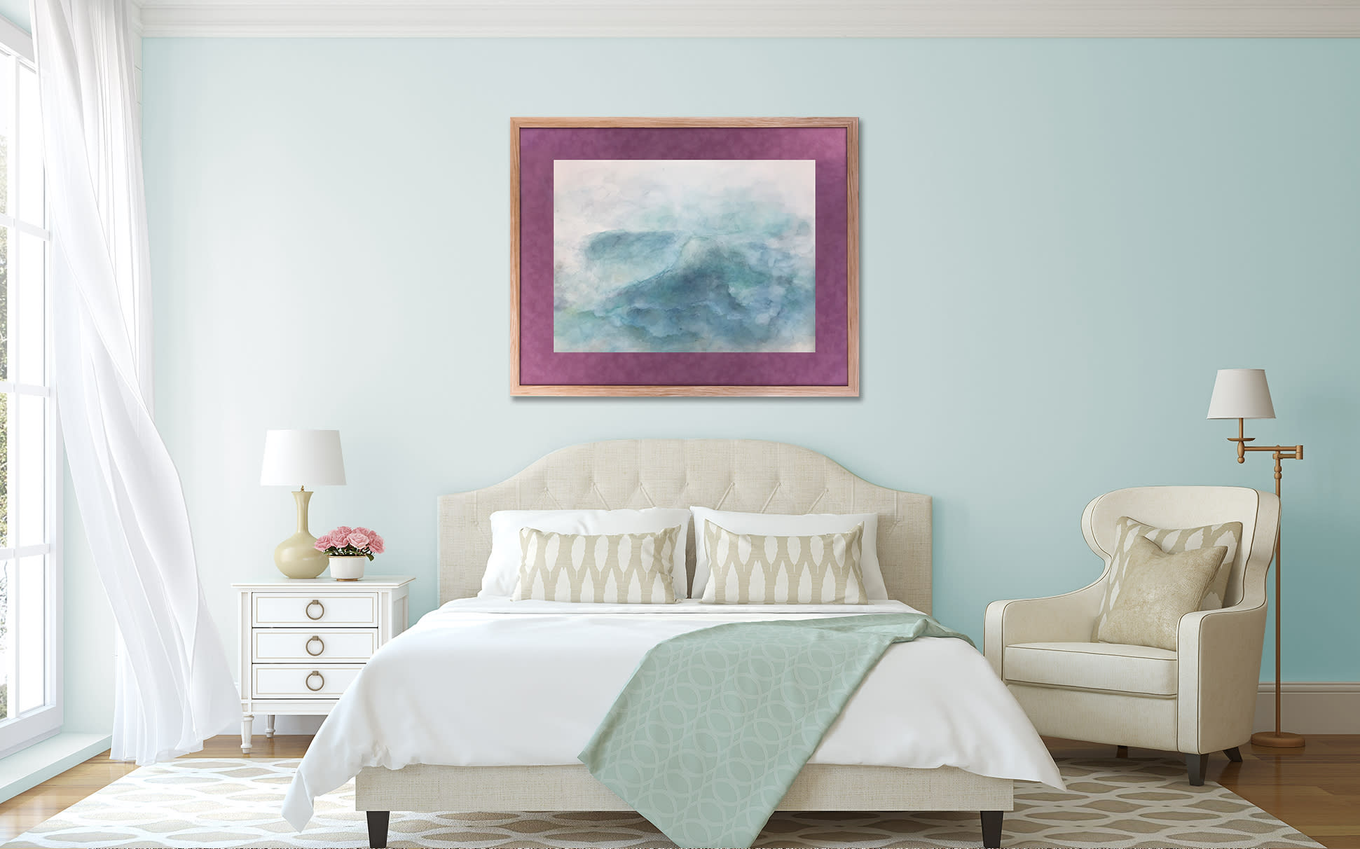<div class='title'>           turquoise ocean watercolor bedroom         </div>                 <div class='description'>                    </div>