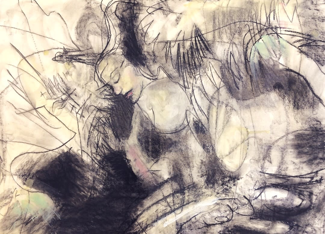 Between two worlds 2 charcoal and encaustic wax on paper 18 22x24 22 matvgi