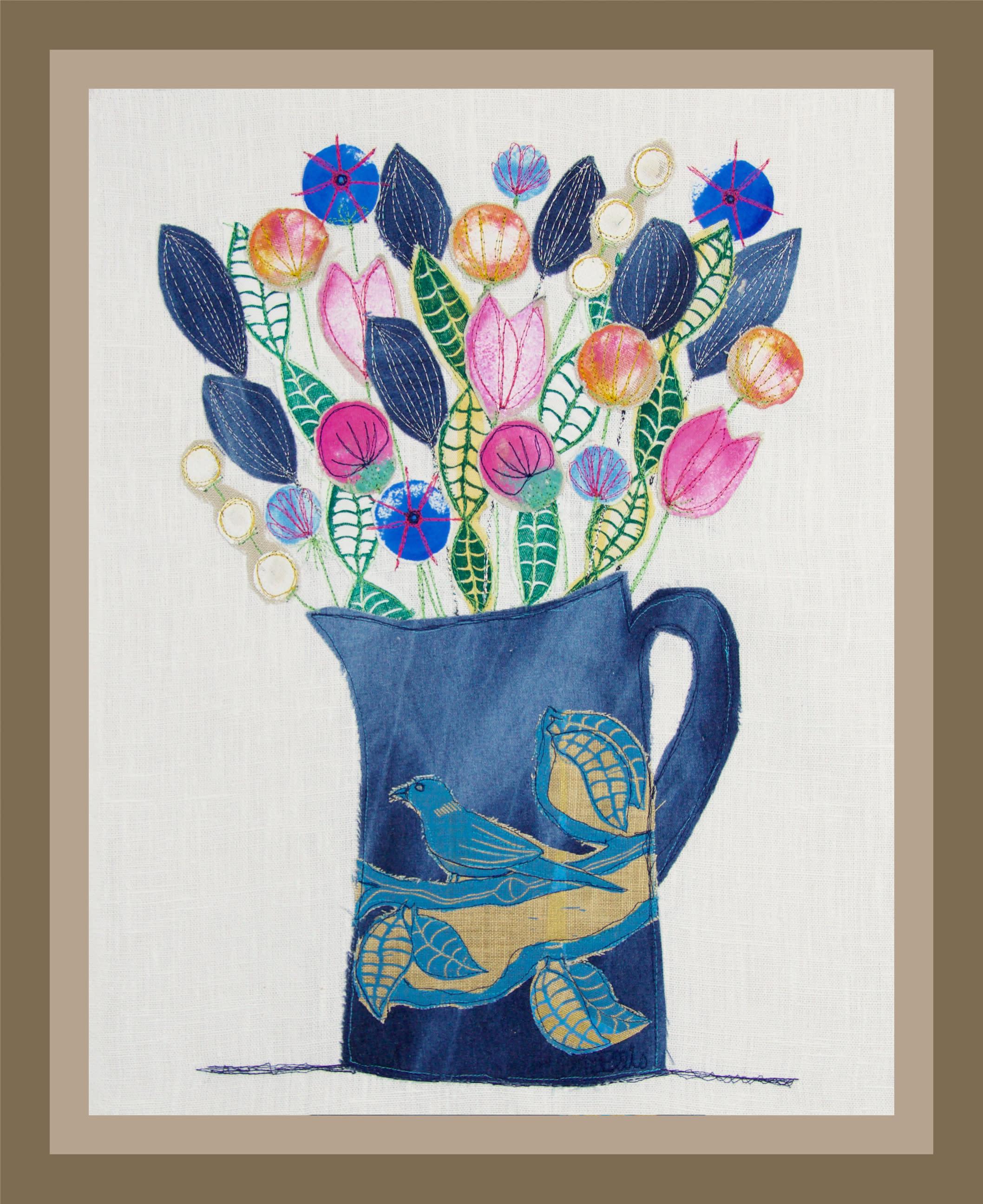 Collage blue jug sm framed stcnzi