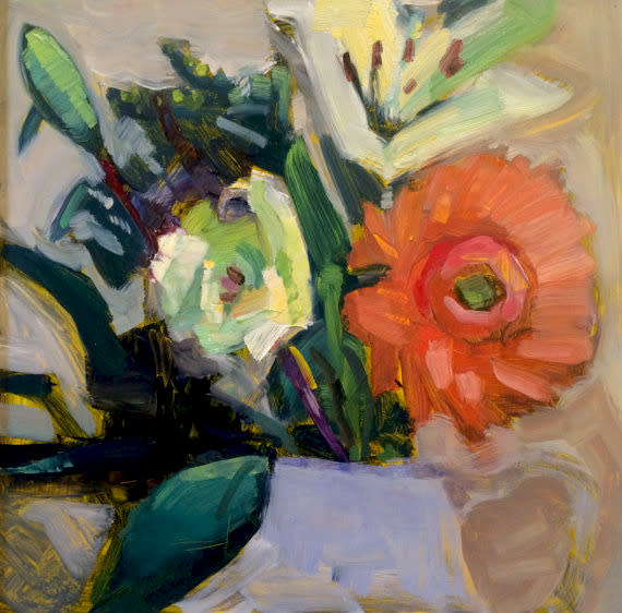 Floral Still Life With Gerbera Daisy And White Lilies Original Fine Art Oil Painting By Monique Sarkessian Oil Painting On 12 X12 1 4 Deep Wood Panel Framed With A Whitewashed Wood Floater Frame