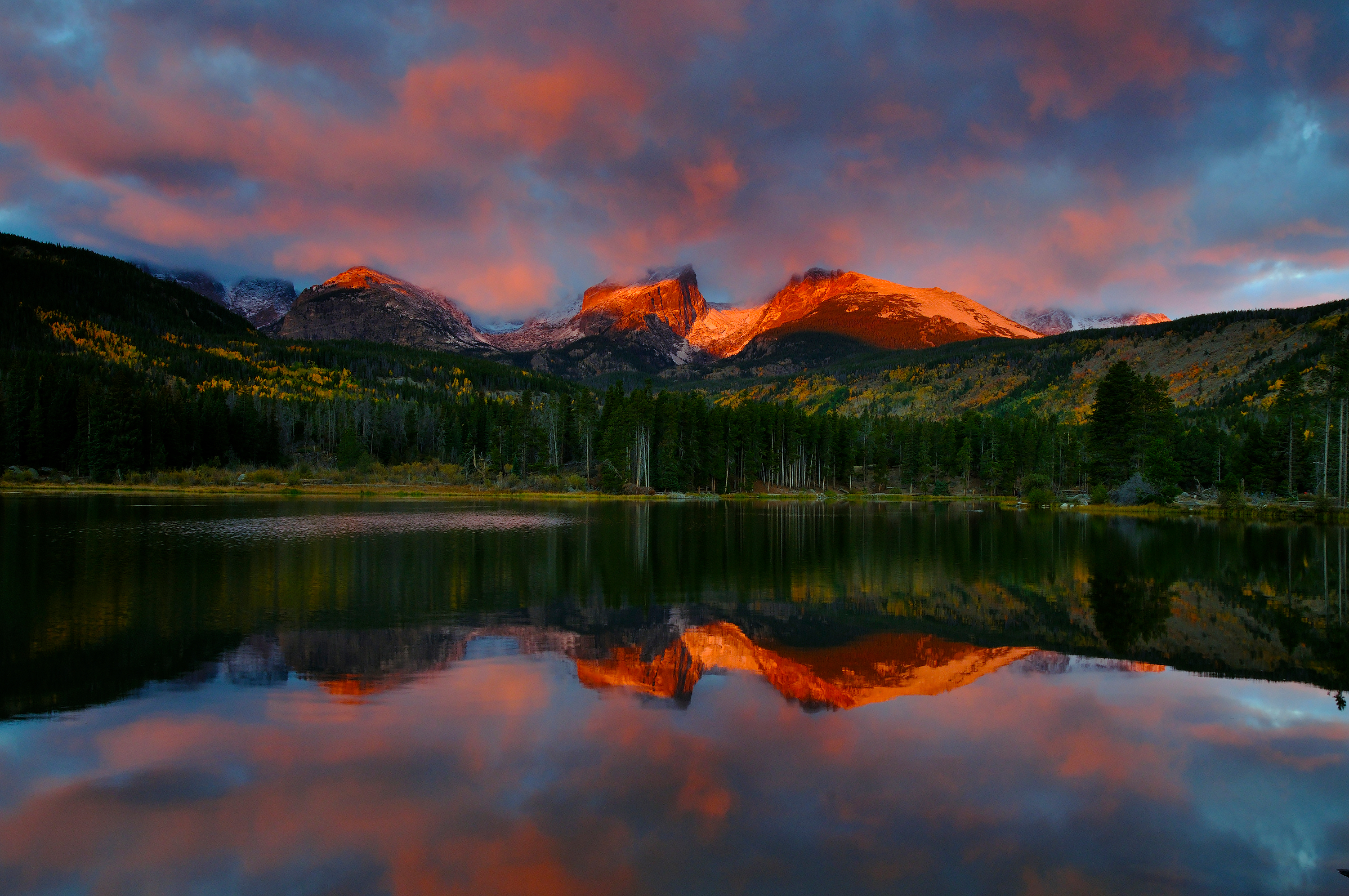 <div class='title'>           Rocky Mountain Sunrise         </div>                 <div class='description'>           Sunrise light casts alpenglow on the peaks of the Continental Divide and lights up the sky above them, with a nearly perfect reflection in the waters of Sprague Lake         </div>