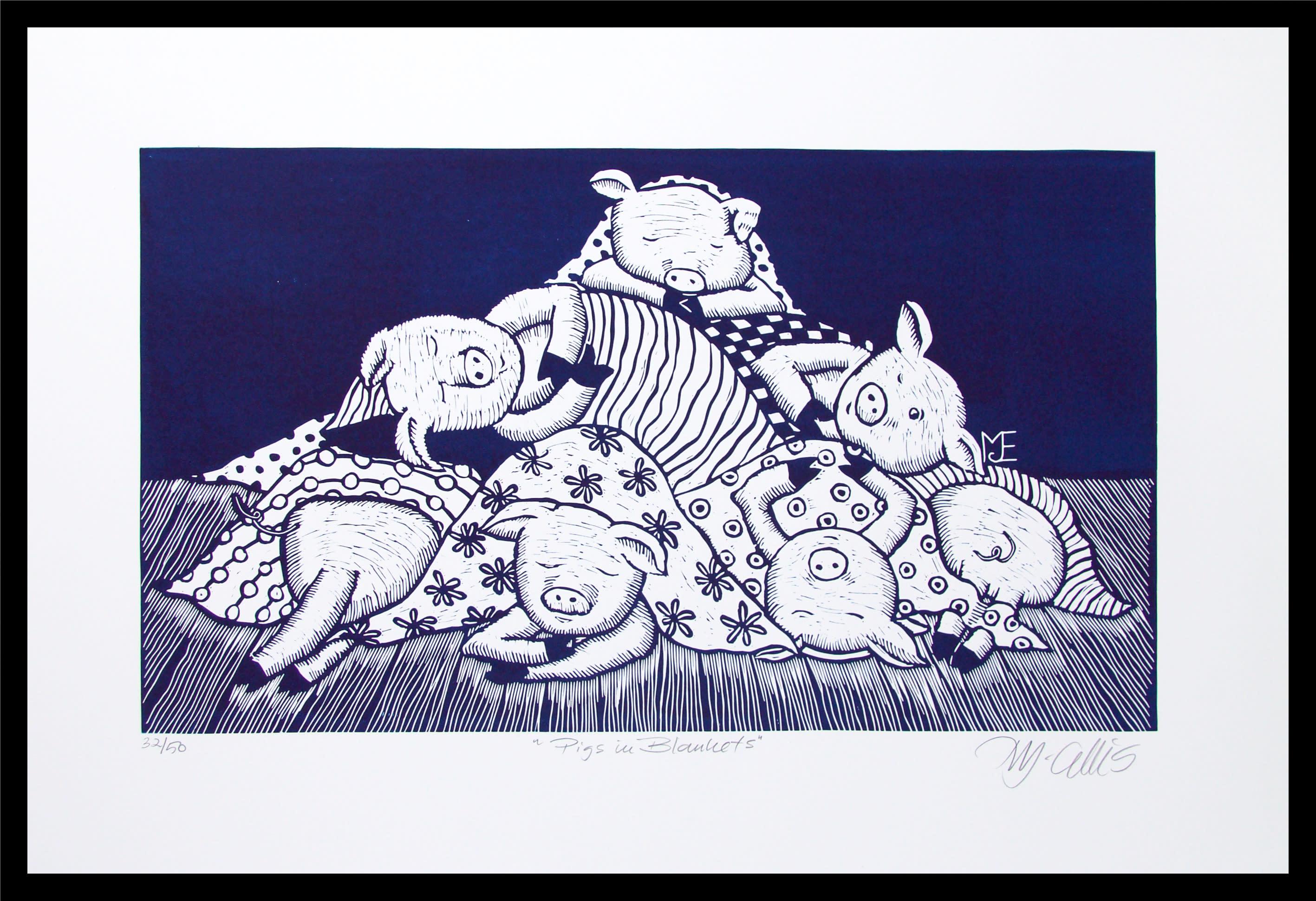 Pigs in blankets navy framed qxotnm
