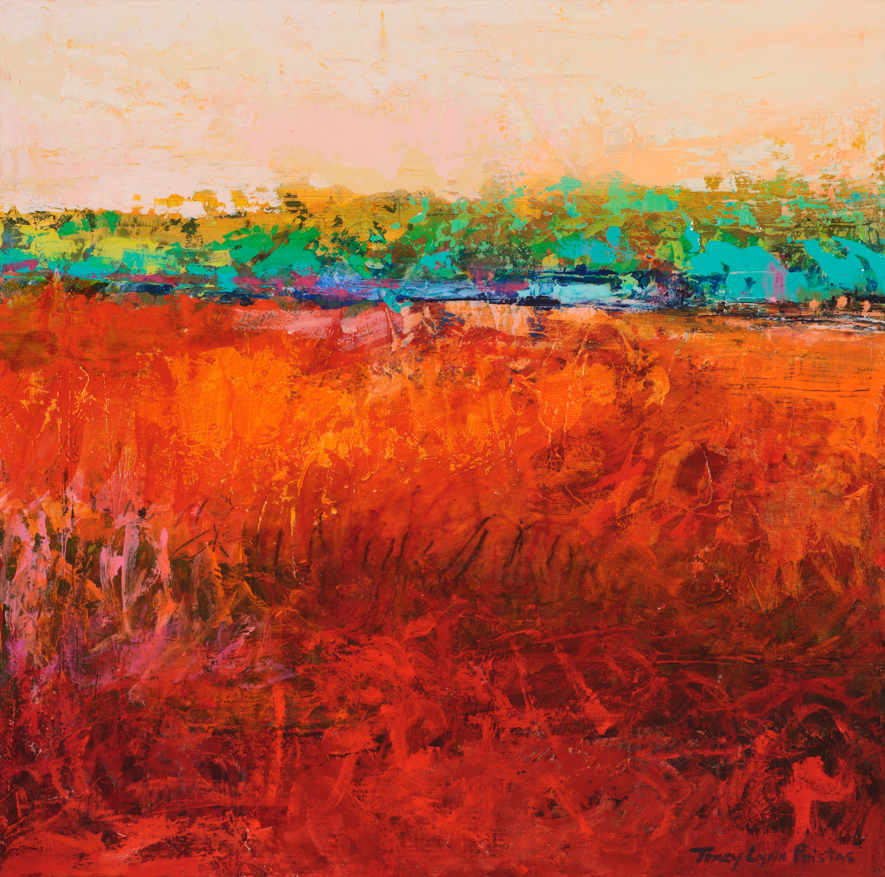 Tracy lynn pristas  abstract landscapes southwestern art  desert memories acrylic pastel on panel z8u6gy