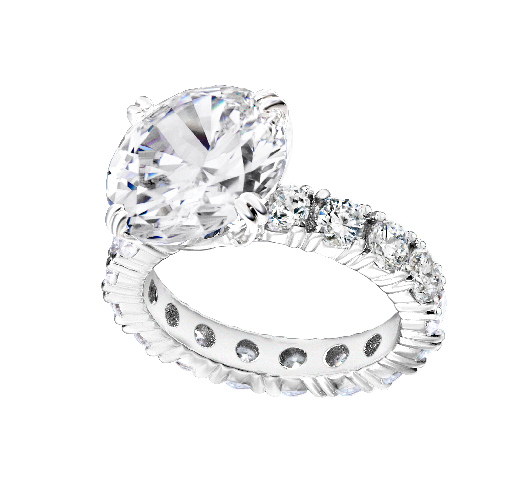 Silver 4 carat round solitaire ring on eternity band z30210 a 210000000436 wdkrkt