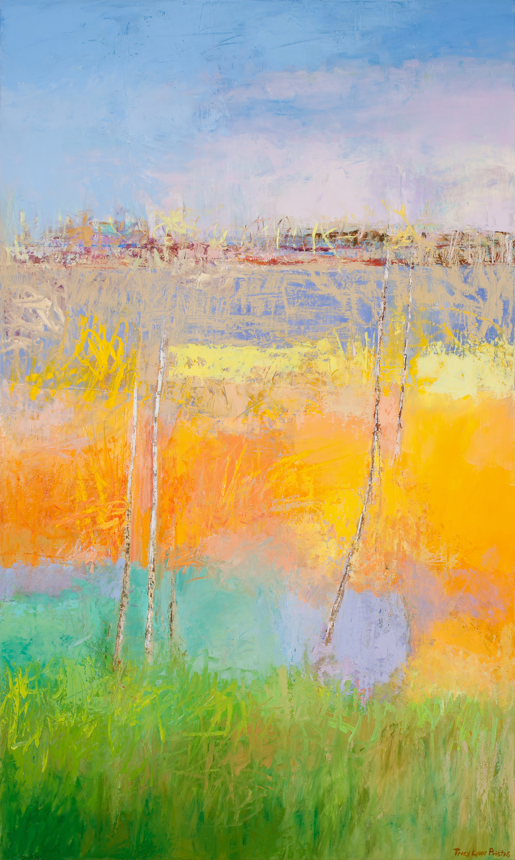 Tracy lynn pristas abstract landscape paintings for sale online 60h x 36w woven whispers va2owf