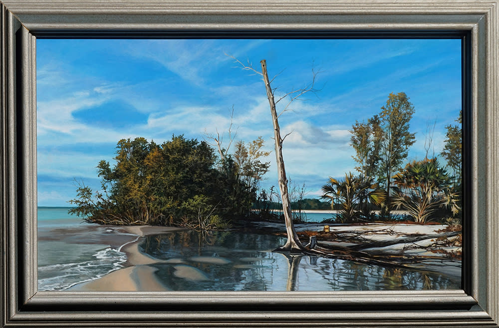 Kevin grass island shore framed acrylic on panel painting gqcup4
