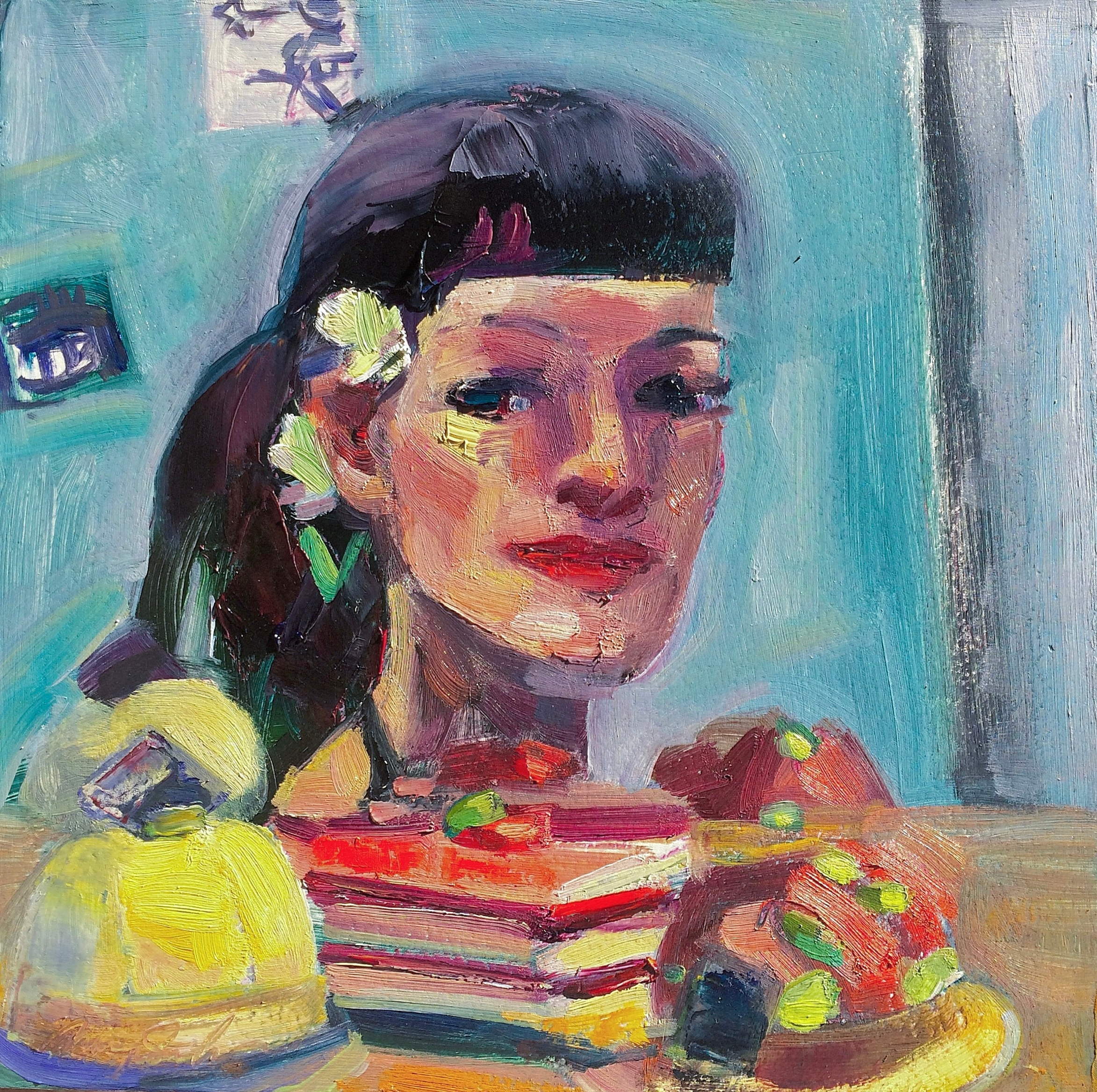 Portrait of monique with french dessert trio oil and mixed media on wood 10x10jpeg jmgyah