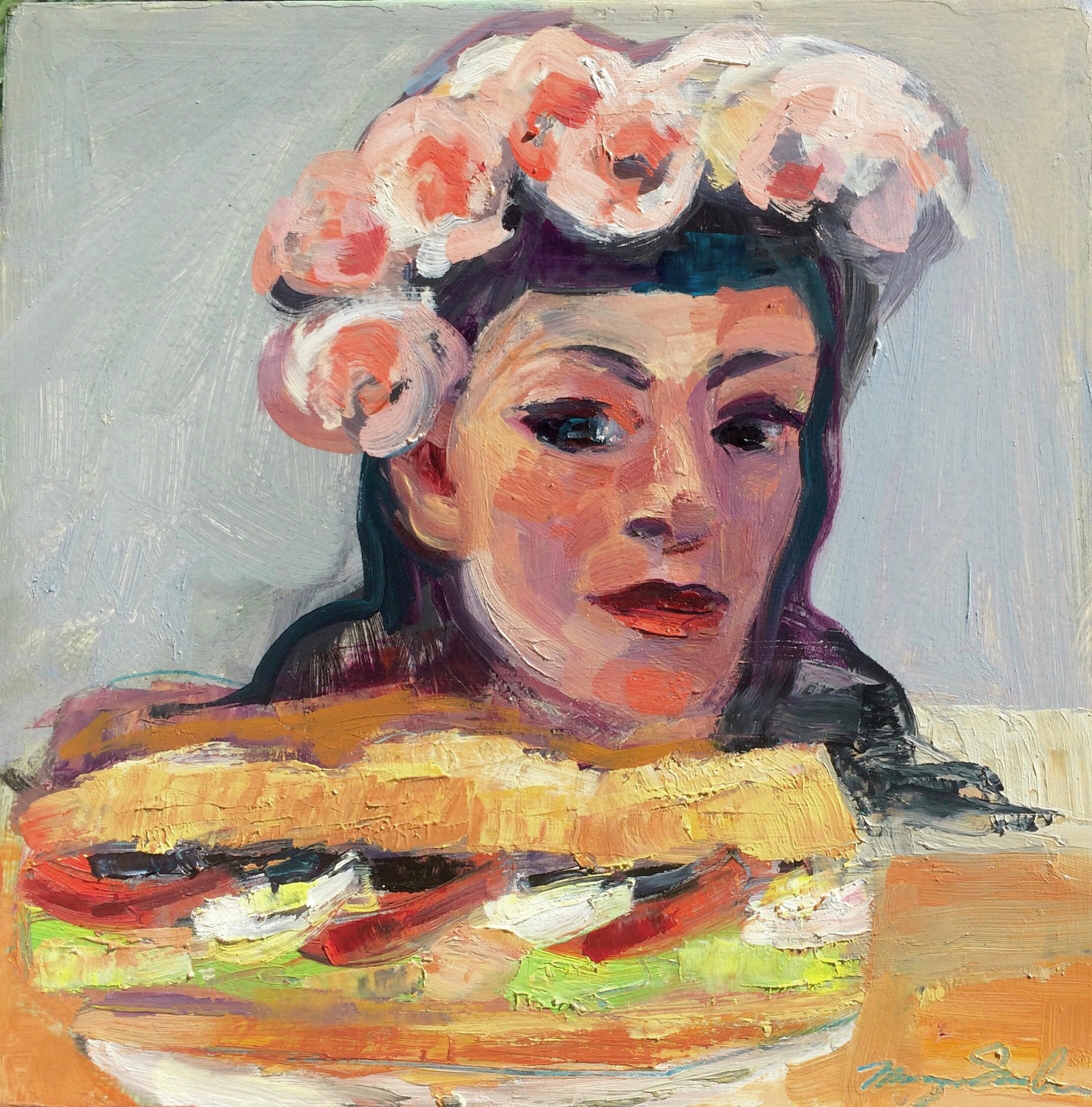 Portrait of monique with pain bagnat oil and mixed media on wood 10x10 igftbj