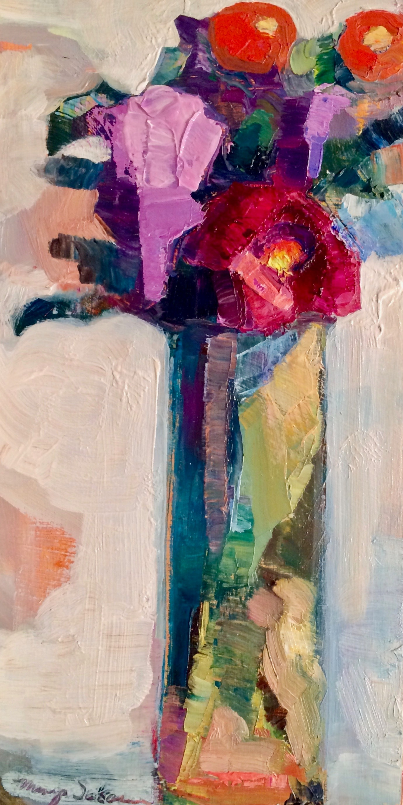 Together still life with lilacs peony and quince oil on wood 12x6 1 hmcevt