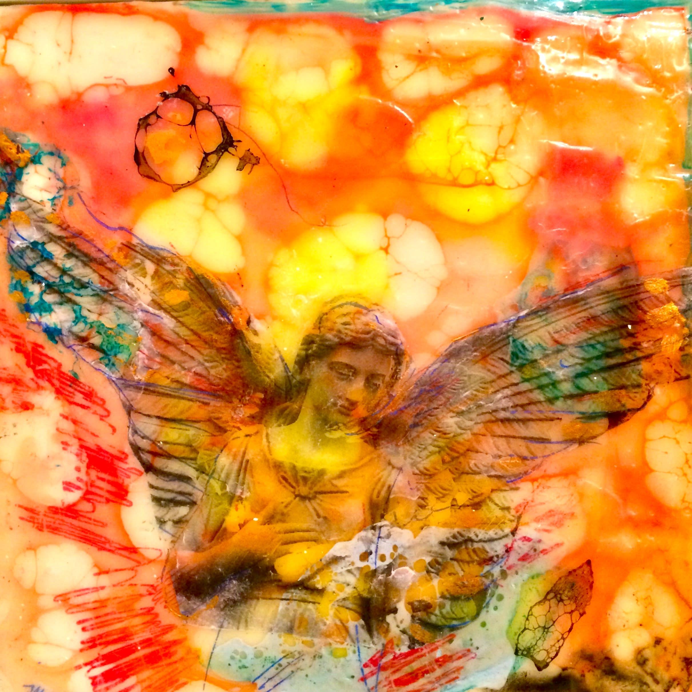 Love conquers 3 encaustic wax and mixed media 6x6 teg93j
