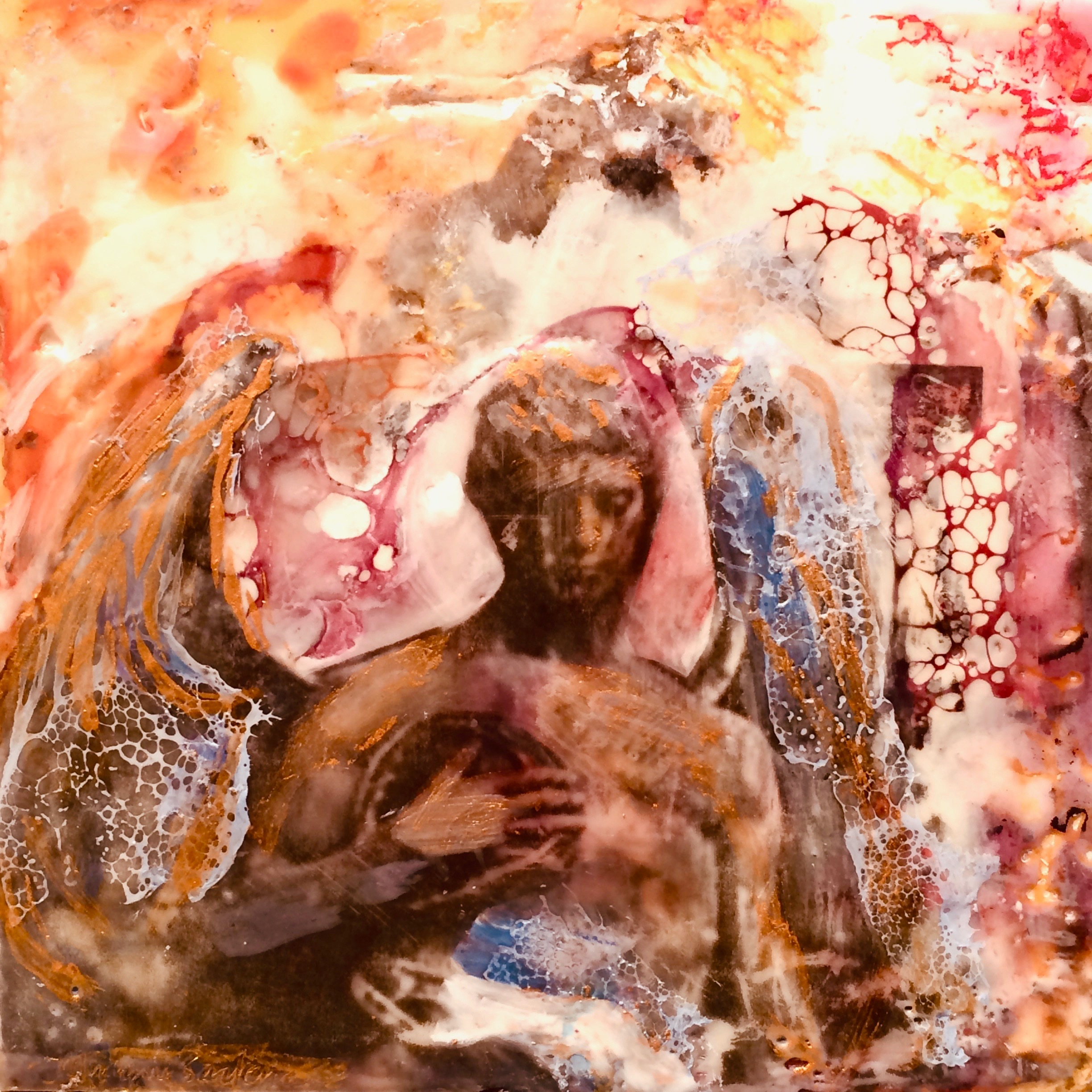Love conquers 12 front encaustic wax on wood 6x6 kmpcld