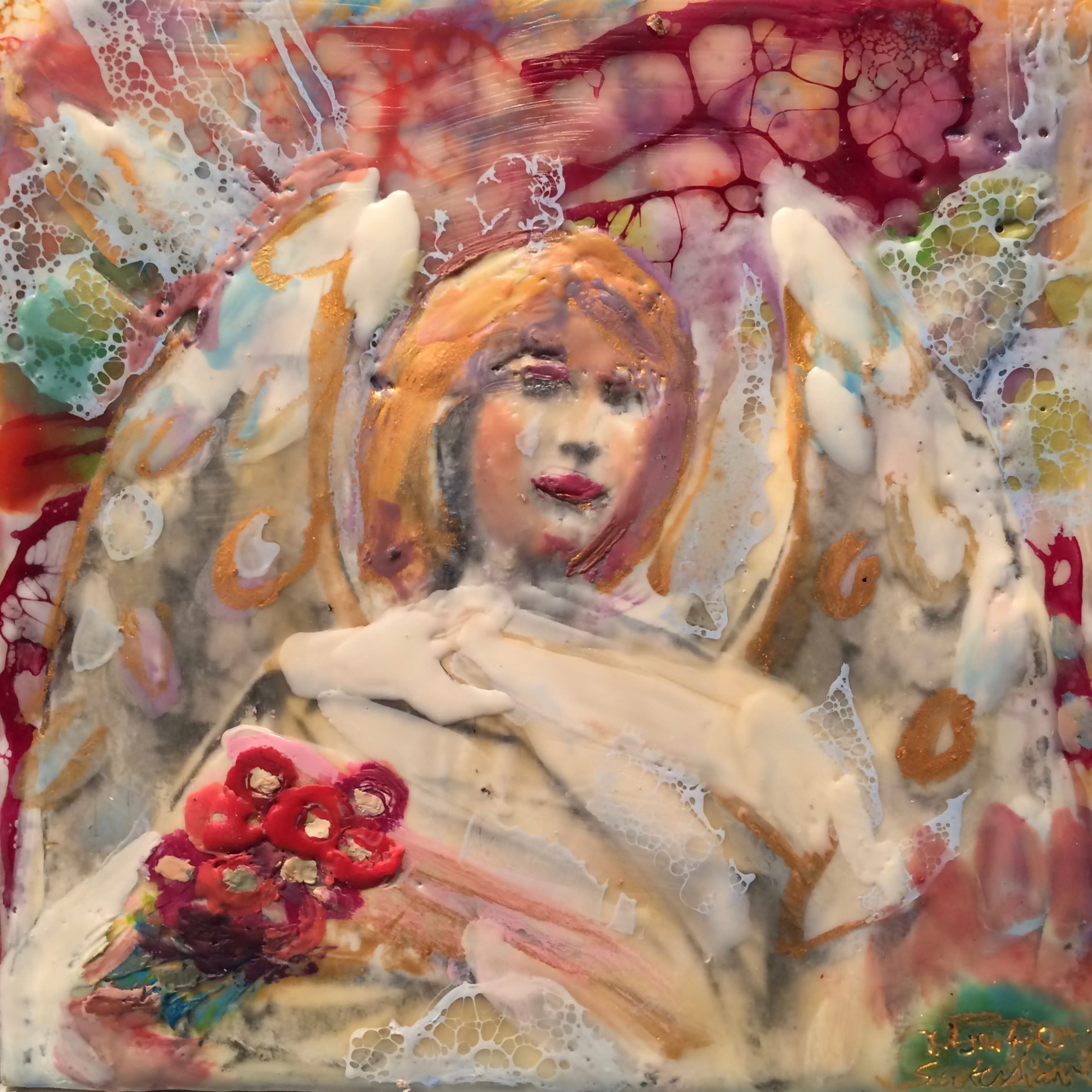 Love conquers 15 angel with flowers front encaustic wax and mixed media 6x6 1 ybmz44