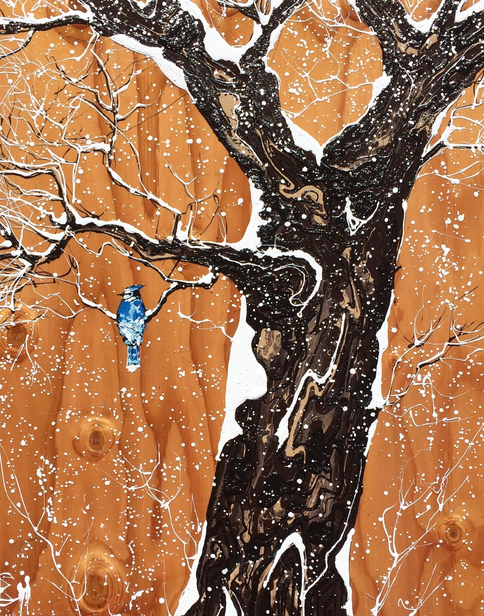 Blue jay in winter 24x30 tiht5f