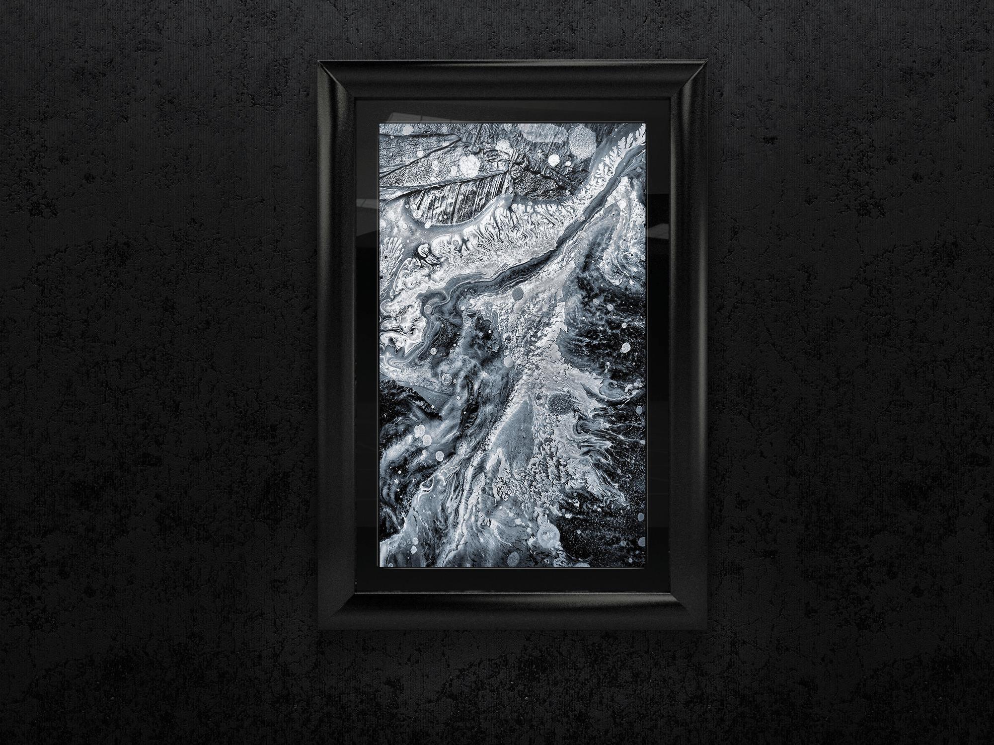 "<div class='title'>           Texture - Macro Photo with Frame         </div>                 <div class='description'>           12""x8"" black and white macro photo by Cameron Emmanuel         </div>"