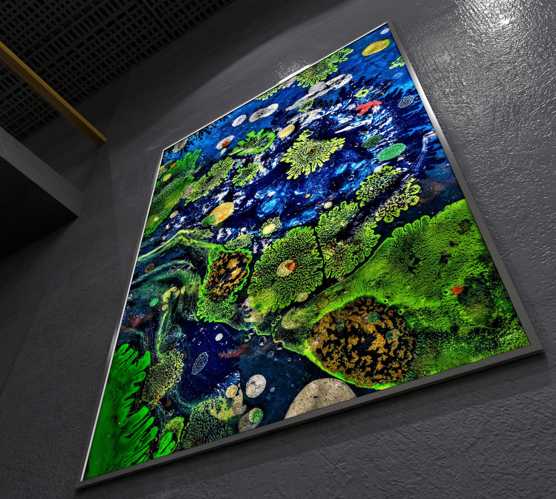 "<div class='title'>           Amoeba Bay printed on 20""x30"" aluminum plate         </div>                 <div class='description'>           Abstract Macro photo art by Cameron Emmanuel         </div>"