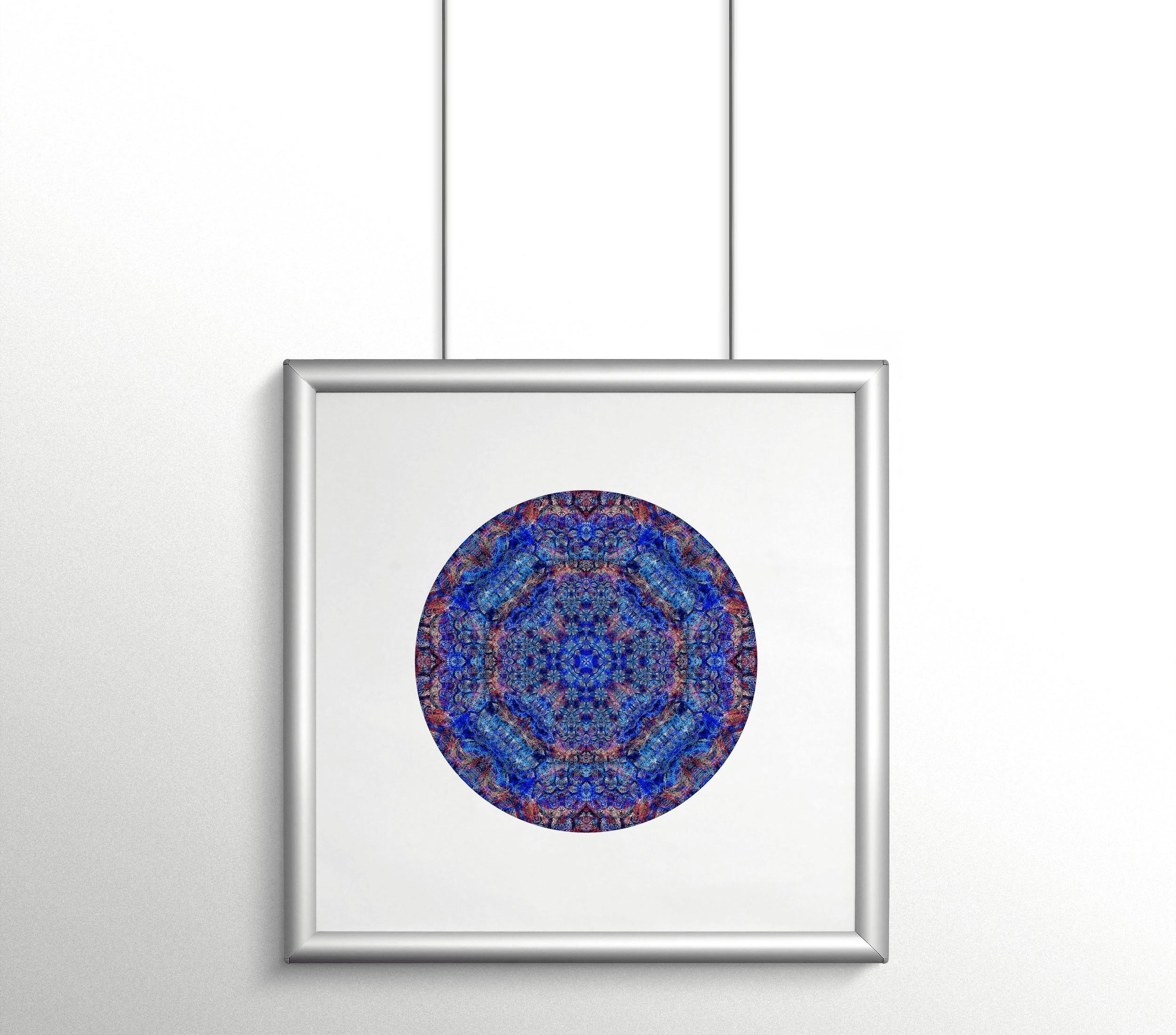 "<div class='title'>           Purple Geometry - 12""x12"" print on Kodak Endura metallic paper         </div>                 <div class='description'>           Modern mandala, titled ""Purple Geometry"" by Cameron Emmanuel         </div>"