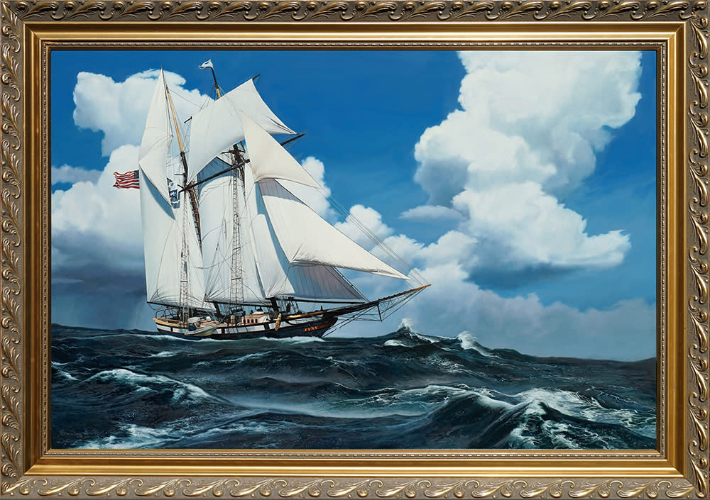 Kevin grass schooner racing the storm framed oil on panel painting vwvtzm
