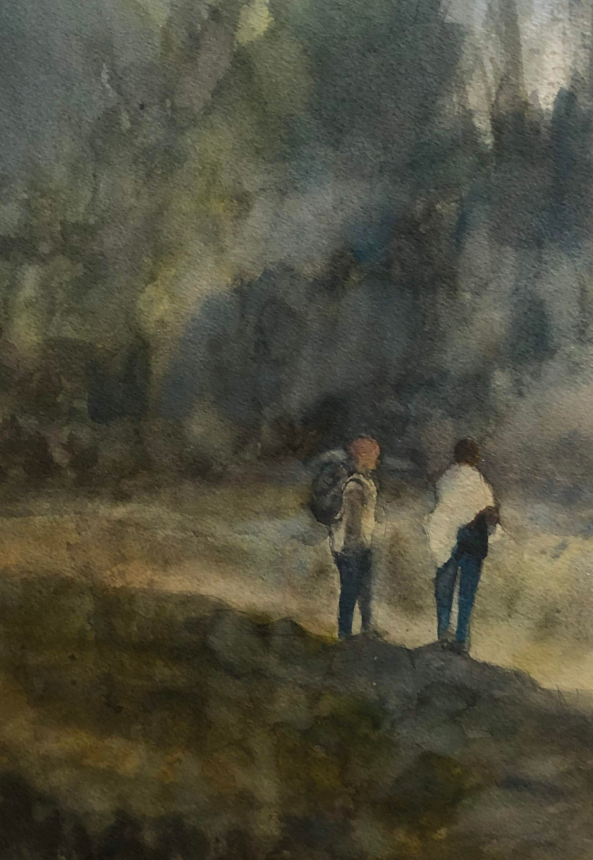 Hiking together watercolor 9x13 2018 s9ahbn