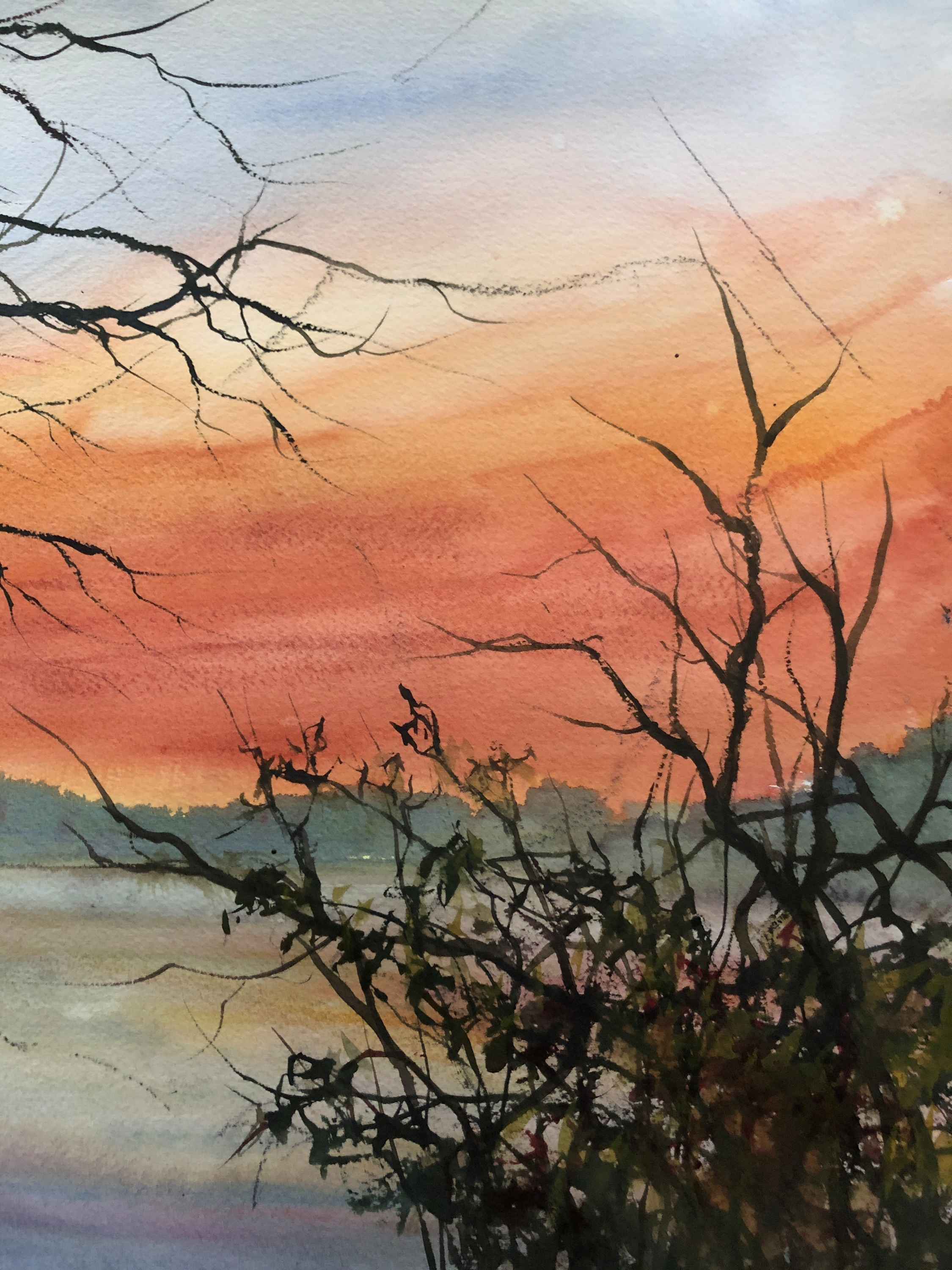 Sunset wilde lake watercolor 14x11 2019 wu7pzr