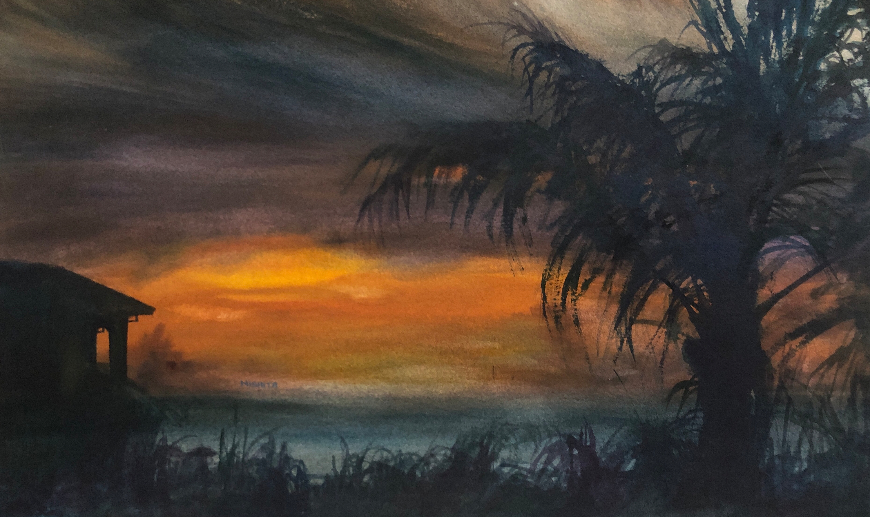 Sunset over turks and caikos watercolor 12x20 2018 plo9sn